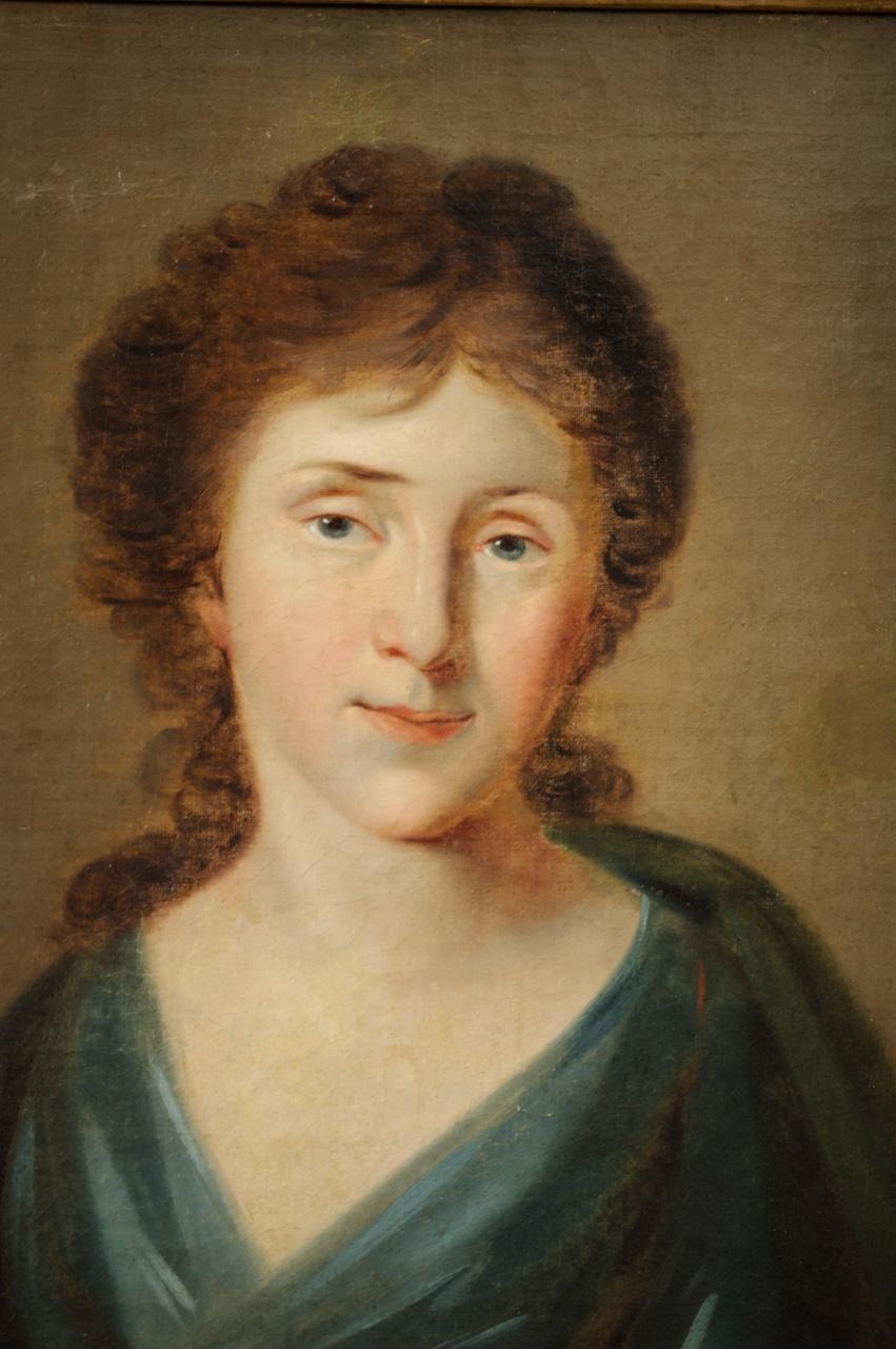19th Century Oil on Canvas, Portrait of a Woman circa 1860 ...