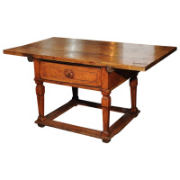 French walnut center table with carved front drawer, box stretchers, circa 1750