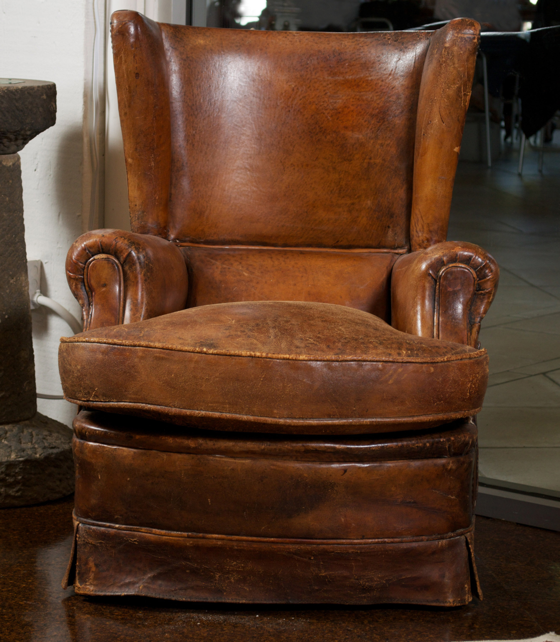 French Art Deco Leather Wing Chair