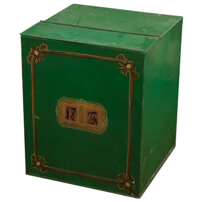 Large Scale Green Tin Bin, English circa 1880