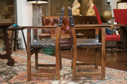 Pair of Spanish Baroque Chestnut and Leather Armchairs