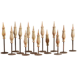 Set of 14 Cast Iron Gate Finials Mounted on Iron Stands circa 1880