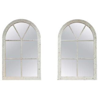 Pair of white painted Industrial windows, English, circa 1880, mounted as mirrors.