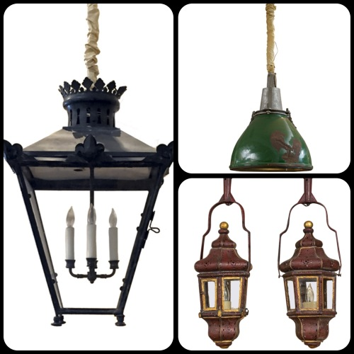 Three antique lanterns at Garden Court Antiques