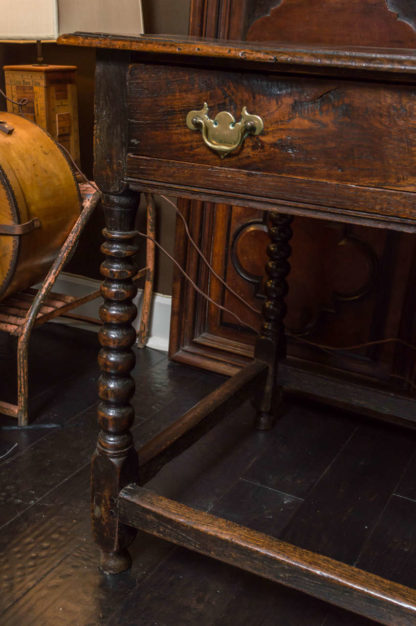 English Oak Side Table with Single Drawer and Bobbin Turned Legs, circa 1780