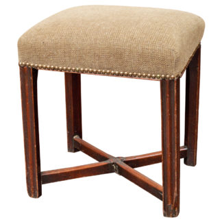 George III Upholstered Mahogany Stool, English circa 1780