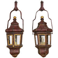 Pair of Venetian Red and Gilt Tole Lanterns, Italy circa 1780