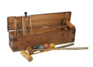 Antique croquet croquet set with box.