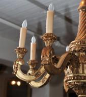 Elegantly carved eight light giltwood chandelier