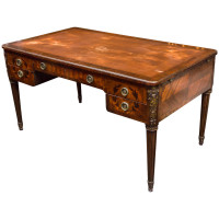 French Mahogany and Fruitwood Inlaid Bureau Plat circa 1870