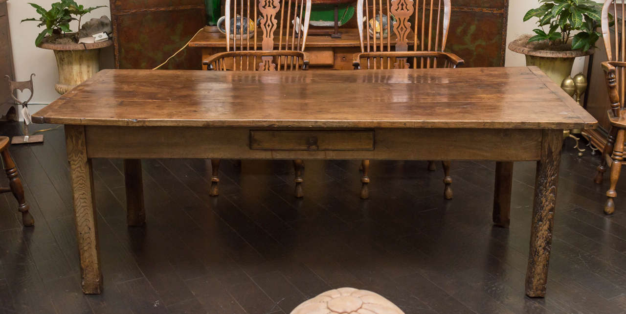 English Fruitwood Farm Table Circa 1840
