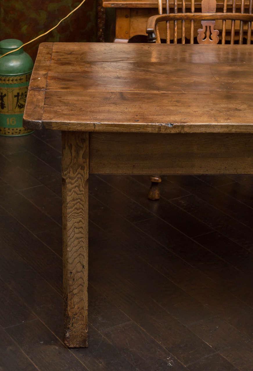 Antique English Fruitwood Farm Table C 1840 Garden Court