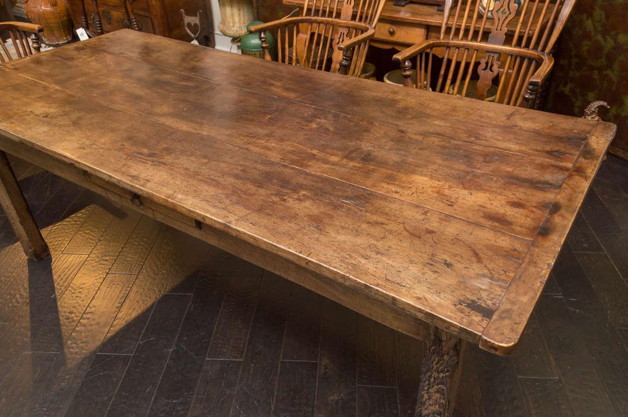English Fruitwood Farm Table Circa 1840