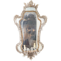 Extraordinary 18th century Venetian Glass Mirror with blown glass sconce, Italy circa 1780