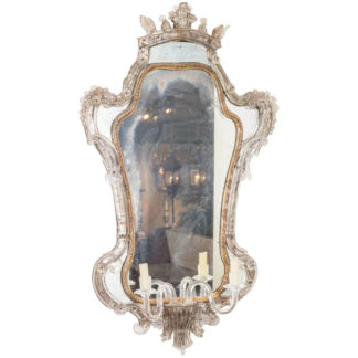 Extraordinary 18th century Venetian Glass Mirror with blown glass sconce, Italy circa 1780