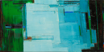 "Maya Kabat ""Two Cities 2"", 24 x 48 in., 2013"