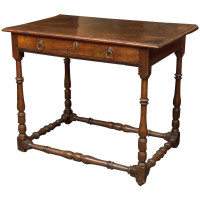 English Oak Side Table with Single Drawer and Box Stretchers, circa 1780