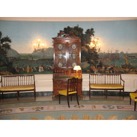 West side of the Diplomatic Reception Room of the White House showing the panoramic Zuber & Cie wallpaper Scenes of North America