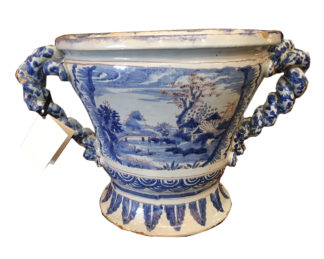 French Blue and White Antique Faience tin -glazed earthenware pot with double twisted braid handles c 1750