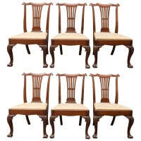 Extraordinary Set of Six Large Scale Period Irish Chippendale Side Chairs, circa 1740