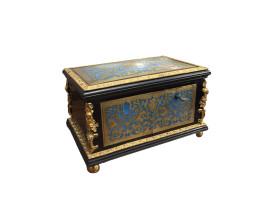 french boulle jewelry box blue enamel brass and ebonized