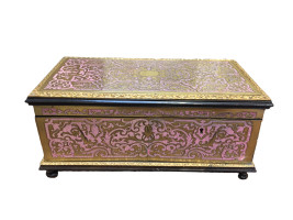 Pink enamel and brass French Boullle Jewelry box