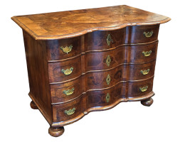Dutch Satinwood Inlaid and Marquetry Walnut Serpentine Front Commode