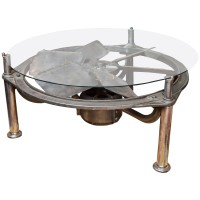 Industrial Steel Architectural Element as a Low Table with Glass Top, circa 1914 Garden Court Antiques San Francisco