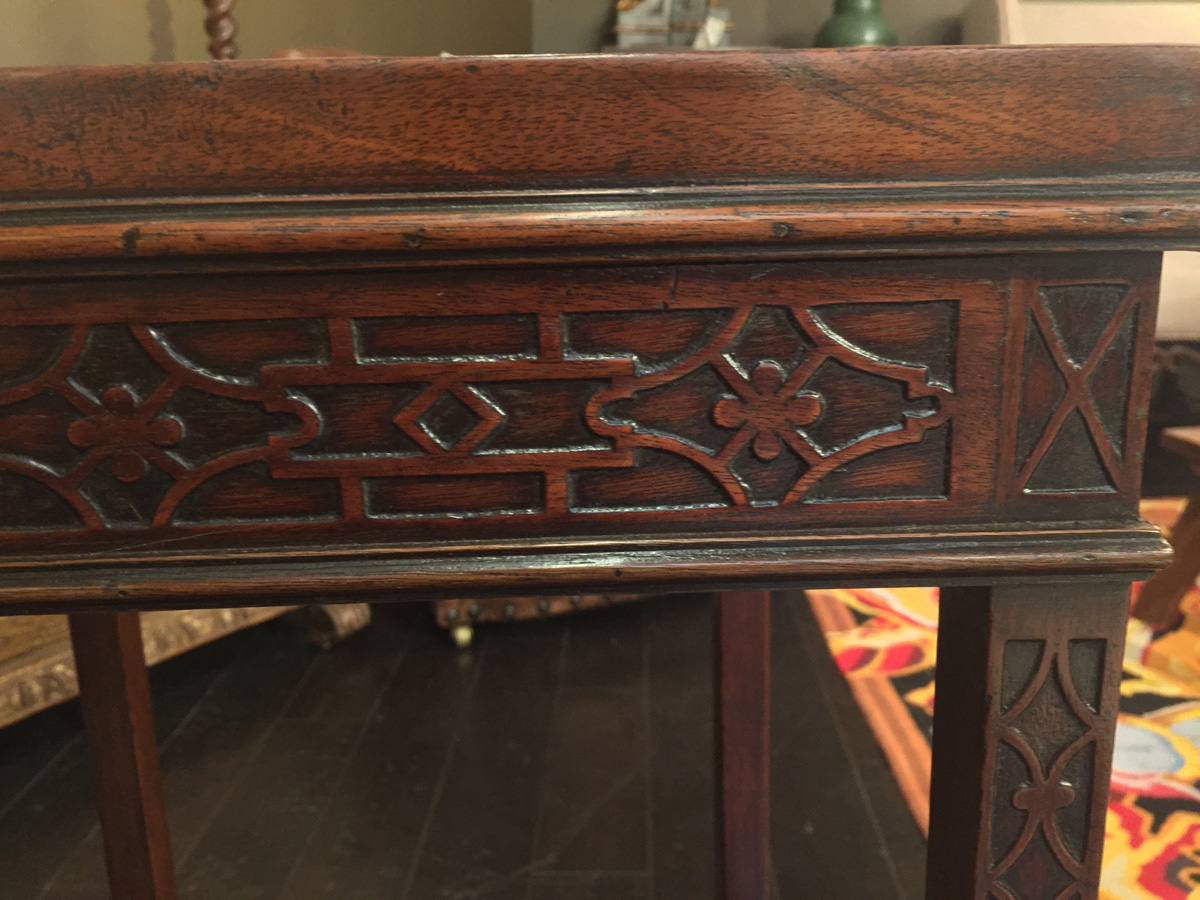 Carved mahogany chippendale style side table circa