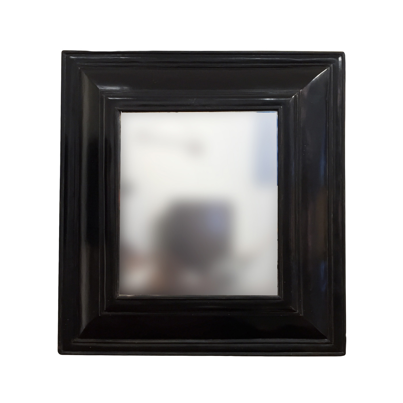 Dutch baroque style cushion mirror in black lacquer circa for Mirror black