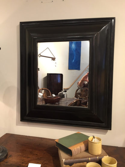 Garden Court Antiques, Dutch Baroque Style Cushion Mirror in Black Lacquer circa 1800