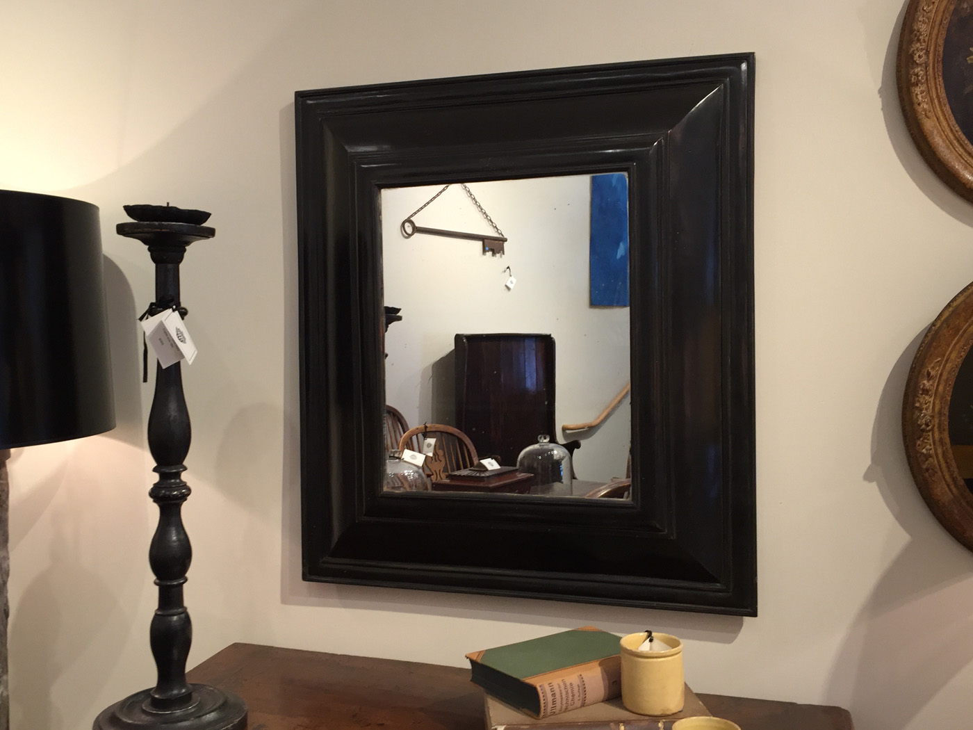 Garden Court Antiques Dutch Baroque Style Cushion Mirror In Black Lacquer Circa 1800