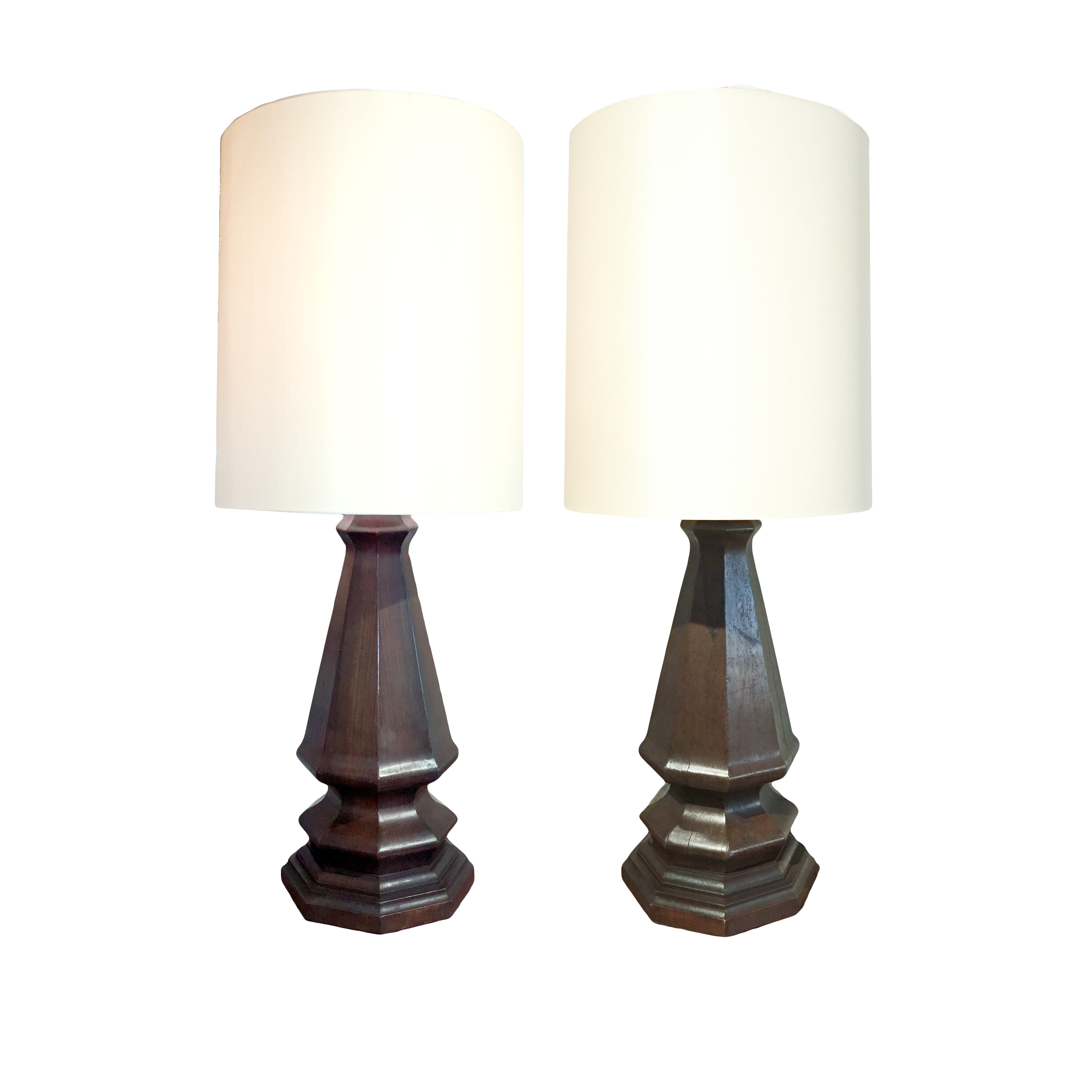 Pair Of Large Scale Wooden Table Lamps, English Circa 1900