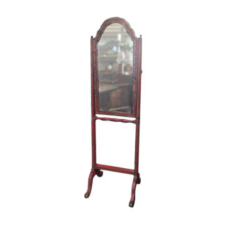 Antique Red Chinoiserie Cheval Mirror French circa 1900 - Garden Court Antiques San Francisco