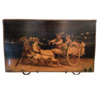 Italian inlay panel of a horse drawn coach, circa 1780