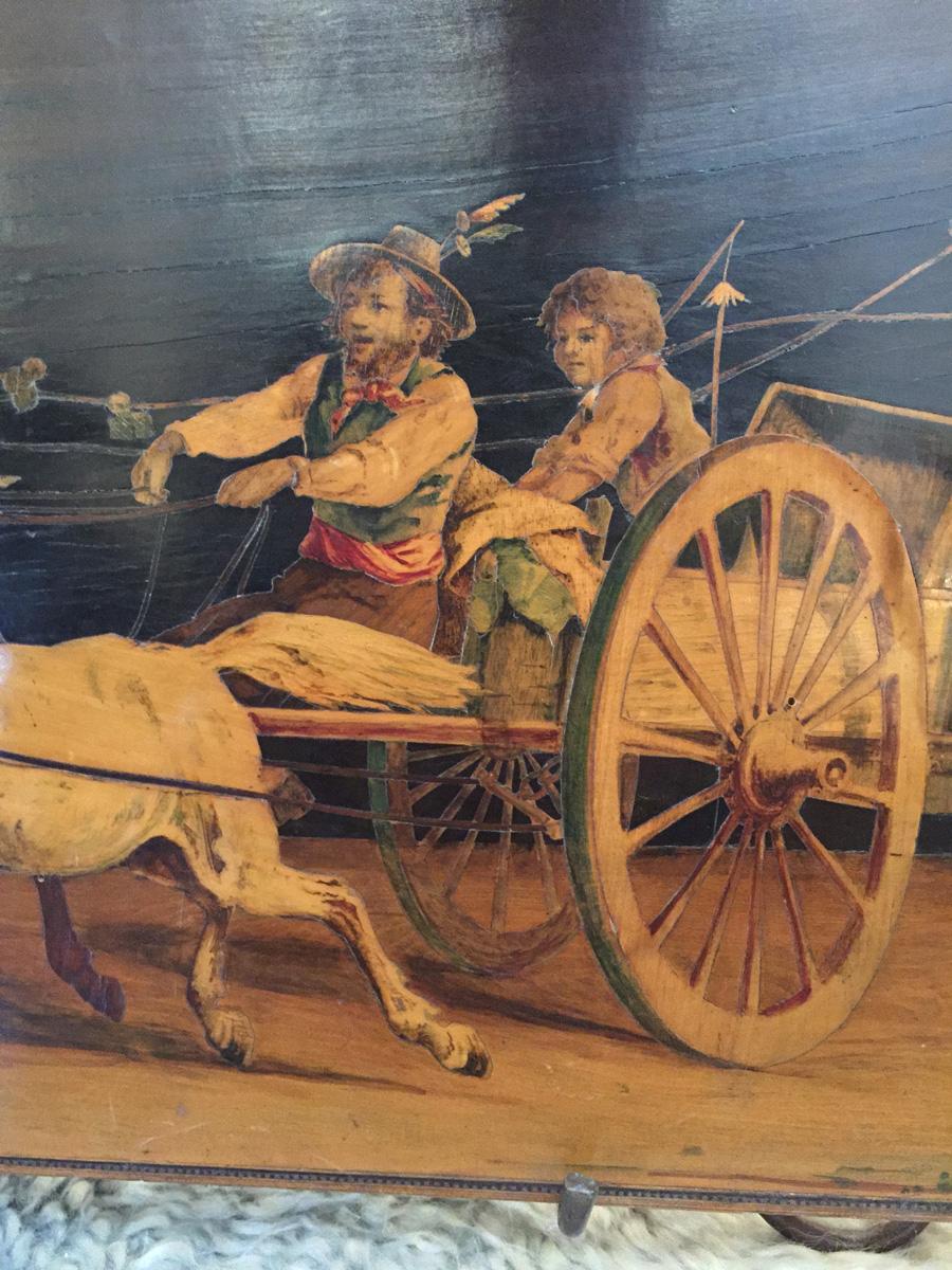 Italian Inlay Panel Of Horse Drawn Coach Circa 1780