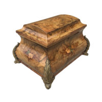 A Large Bombe Shaped Walnut Box with Floral Marquetry on All Sides Sitting atop Gilded Bronze Feet, French 1860