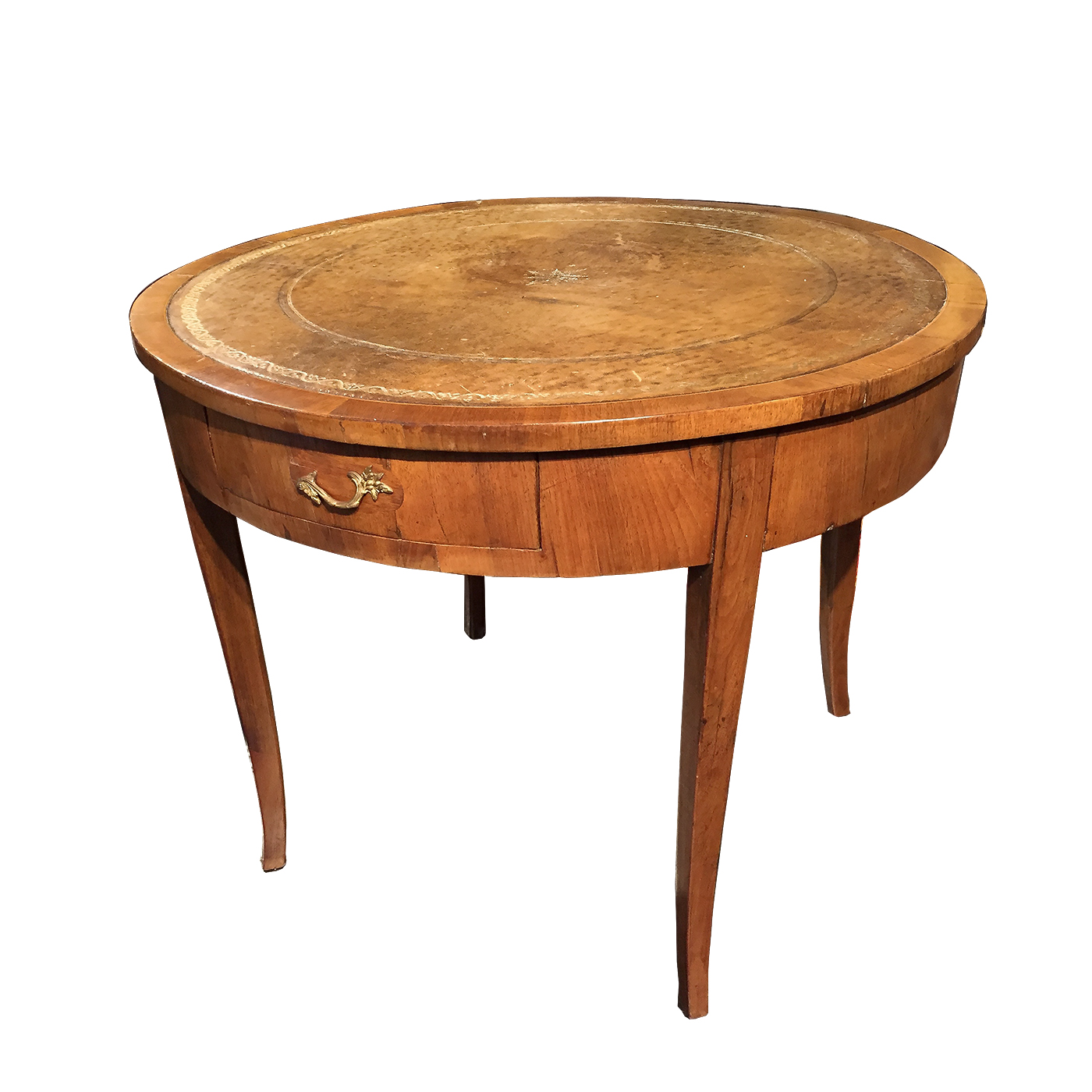 Italian Fruitwood Center Table with embossed leather top circa 1840