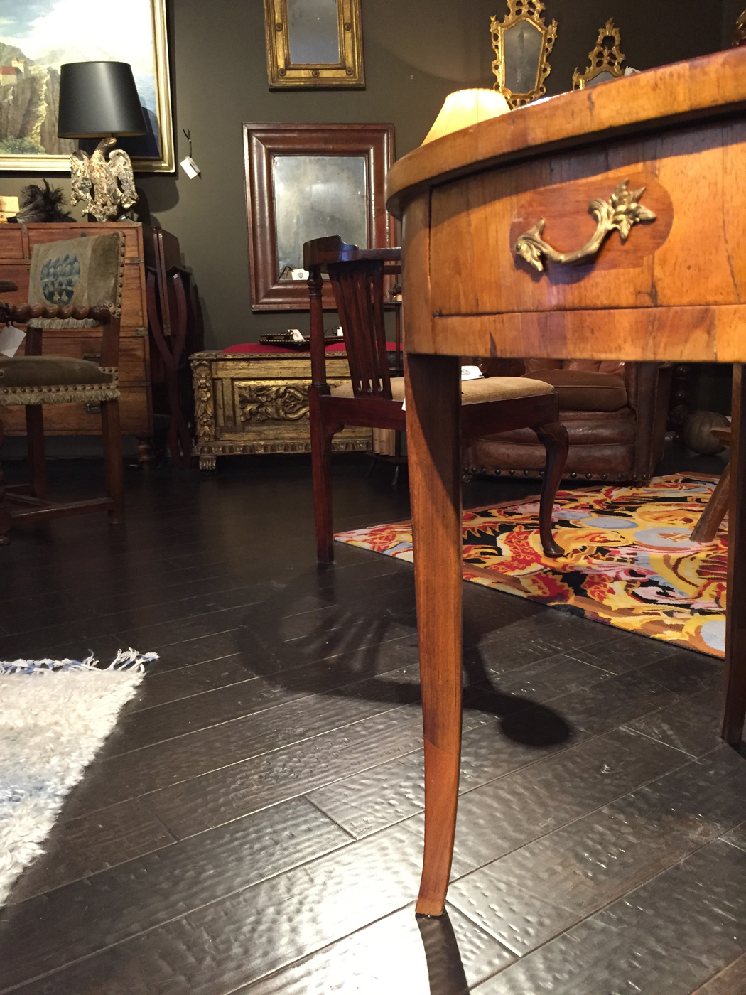 Italian Fruitwood Center Table With Embossed Leather Top, Circa 1840
