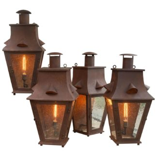 Garden Court Antiques - Set of Four Wall-Mounted Iron Lanterns, English, circa 1880