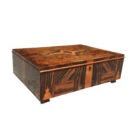 Garden Court Antiques, San Francisco - Large Scale Art Deco Box in Cormomandel, Birds Eye Maple, Satinwood and other exotic woods, French 1930