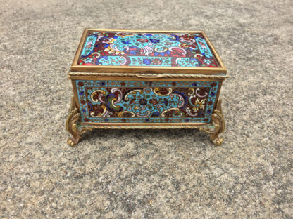 Garden Court Antiques, San Francisco - A Delightful Enamel Jewel Box with Domed Top and Gilt Bronze Metalwork. French, Late 19th Century