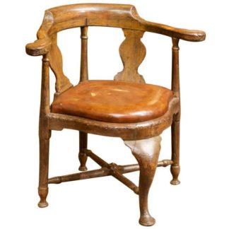 Garden Court Antiques, San Francisco - Italian Walnut Corner Chair with Leather Drop Seat, circa 1780