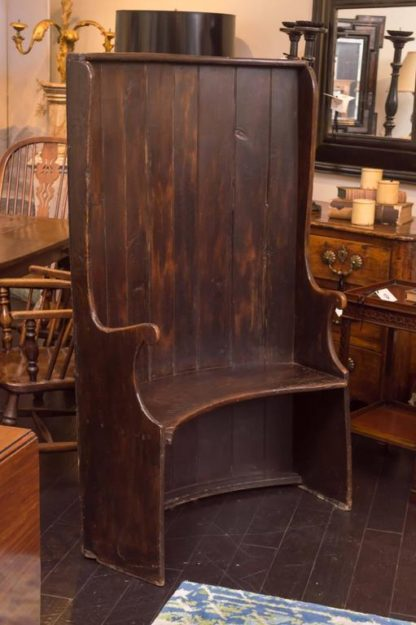 Garden Court Antiques, San Francisco - Curved Oak Settle Bench, English, circa 1800