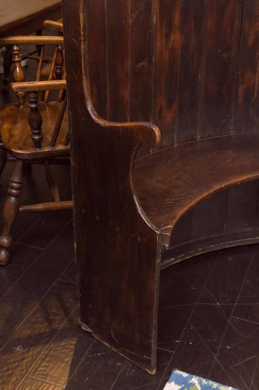 Curved Oak Settle Bench English Circa 1800 Garden