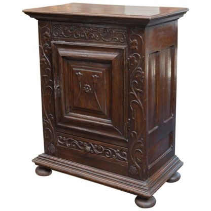 Garden Court Antiques, San Francisco - French carved front oak commodini with single door and single drawer; scrolling vine and tulip carvings, circa 1720