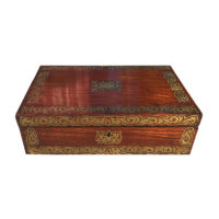 Garden Court Antiques, San Francisco An English Mahogany Campaign Writing Box with Extensive Brass Inlay, Circa 1840