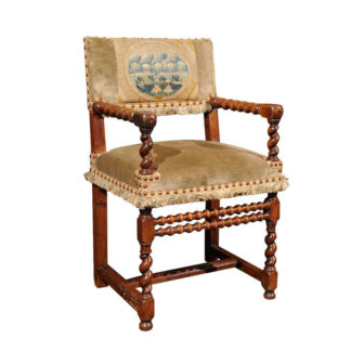 Garden Court Antiques, San Francisco French Walnut Armchair, circa 1720
