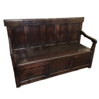 "Garden Court Antiques, San Francisco - Paneled Oak Box Seat Settle Dated and Initialed ""I. T. 1721"""
