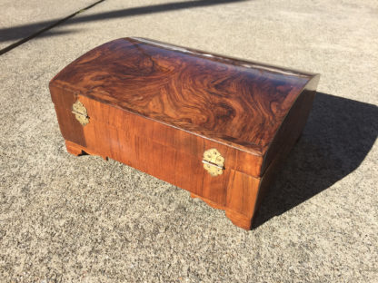 Garden Court Antiques, San Francisco 18th Century Walnut and Feather Banded Dome Top Box.